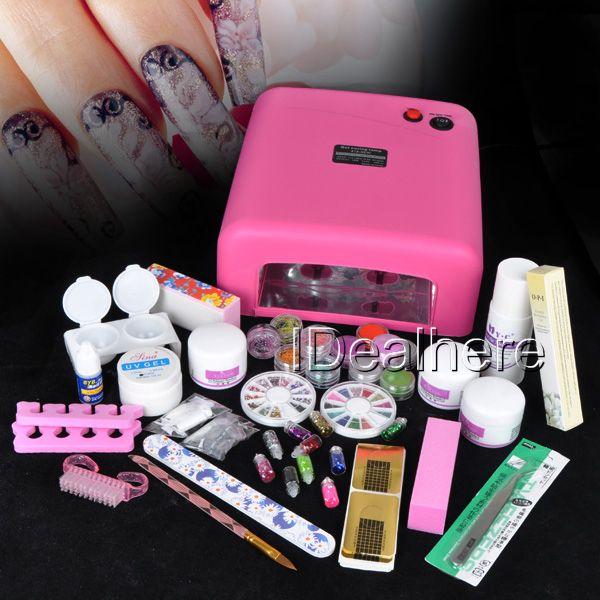Colored Glitter Powder NAIL ART KIT + 110V Pink Nail UV Lamp