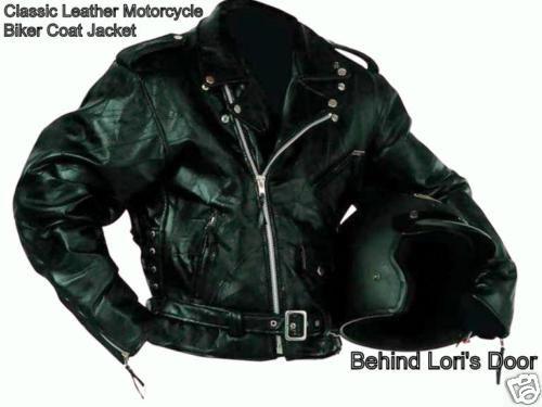 Mens XL BLACK LEATHER Motorcycle Biker Jacket 1X XL