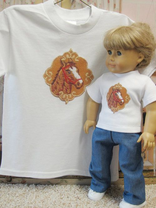 Matching Horse T Shirts for American Girl Doll and Child