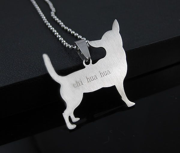 STAINLESS STEEL CHIHUAHUA PET DOG PENDANT CHARM + CHAIN