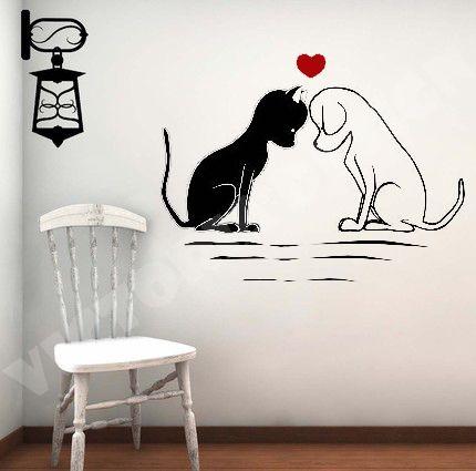 LOVE CAT DOG STICKER DECOR CUSTOM DECAL WALLPAPER LOGO