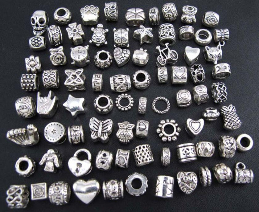 Mix 80pcs Tibetan Silver Delicate Dangle Beads Fit Charm Bracelet